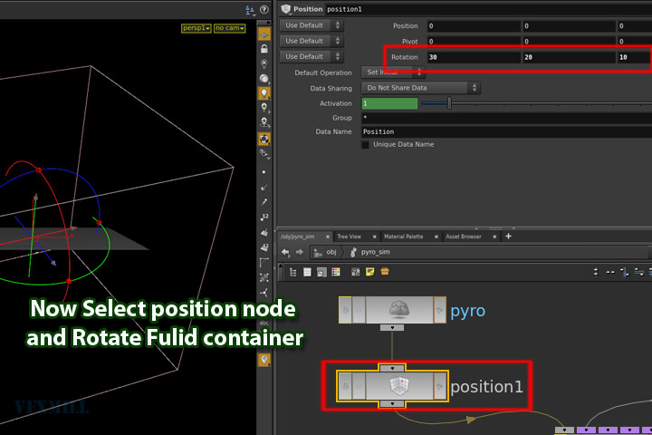 how to rotate fluid container in houdini - step 006